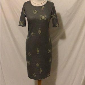 LulaRoe gray w/ yellow pattern midi dress Sz Small